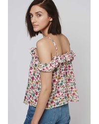 TOPSHOP | White Floral Florence Blouse | Lyst