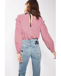 TOPSHOP Red Gingham Mutton Sleeve Blouse