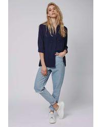 TOPSHOP - Blue Studded Shirt - Lyst