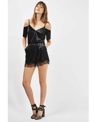 TOPSHOP - Black Velvet Lace Cold Shoulder Playsuit - Lyst