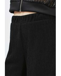 TOPSHOP - Black Textured Wide Leg Trousers - Lyst
