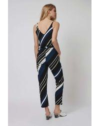 TOPSHOP - Blue Diagonal Stripe Jumpsuit - Lyst