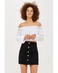 TOPSHOP - Black Moto Button Front Denim Mini Skirt - Lyst
