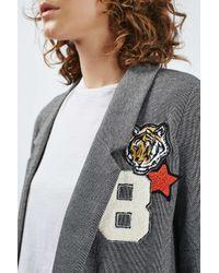 TOPSHOP | Blue Badged Jersey Blazer | Lyst