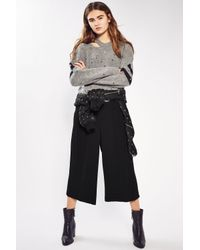 TOPSHOP - Black Cropped Wide Leg Trousers - Lyst