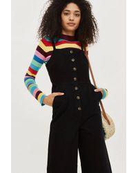 TOPSHOP - Black Horn Button Jumpsuit - Lyst