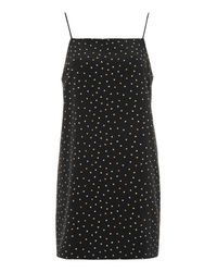 TOPSHOP - Black Tall Square Neck Spot Slip Dress - Lyst