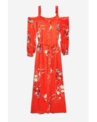 TOPSHOP - Orange Floral Maxi Dress By Yas - Lyst