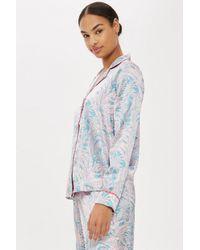 TOPSHOP - Pink Tropical Satin Shirt - Lyst