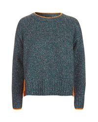 TOPSHOP | Blue Bright Trim Marle Jumper | Lyst