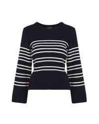 TOPSHOP | Blue Wide Sleeve Stripe Knitted Jumper | Lyst