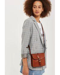 TOPSHOP Brown Matilda Leather Mini Boxy Cross Body Bag