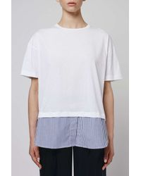 TOPSHOP - Blue Shirt Hem Tee By Boutique - Lyst