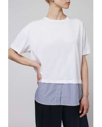 TOPSHOP - Blue Shirt Hem Tee By Boutique - Lyst