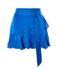 TOPSHOP Blue Petite Ruffle Tie Mini Skirt