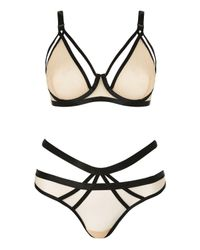 TOPSHOP Natural Contrast Mesh Underwired Bra