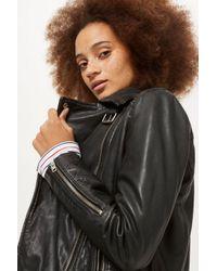 TOPSHOP Black Leather Biker Jacket