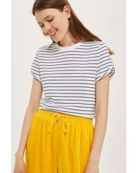 TOPSHOP | Blue Stripe Cropped T-shirt | Lyst