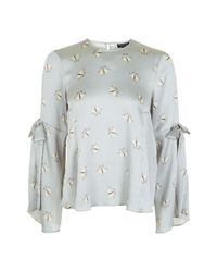 TOPSHOP | Gray Tall Moth Tie Sleeve Blouse | Lyst