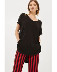 TOPSHOP - Black Tall Side Split T-shirt - Lyst