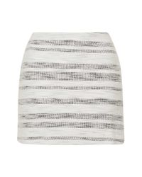 TOPSHOP - White Tall Stripe Boucle Aline Skirt - Lyst