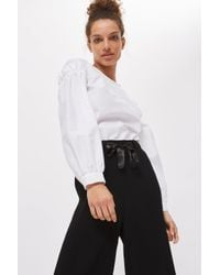 TOPSHOP - Black Tall Pleat Awkward Wide Leg Trousers - Lyst