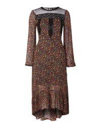 TOPSHOP - Black Floral Print Midi Dress - Lyst
