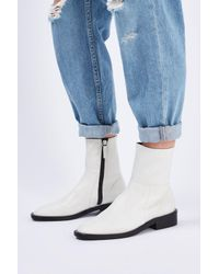 TOPSHOP | White Artichoke Sock Boots | Lyst