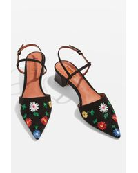 TOPSHOP - Black Jasmine Embroidered Mid Heel Shoes - Lyst