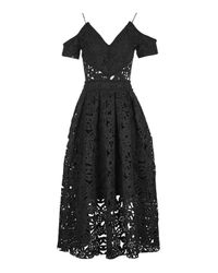 TOPSHOP | Black Laser Cut Bardot Prom Dress | Lyst