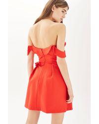 TOPSHOP - Red Ruffle Bardot Mini Dress - Lyst