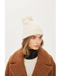 c7e48a1b0e0 TOPSHOP Zig Zag Beanie Hat in Natural - Lyst