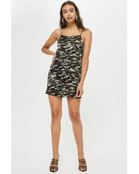 d708c3bf94b36 TOPSHOP Tall Camouflage Print Midi Slip Dress - Lyst