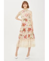 TOPSHOP - White Floral Print Maxi Dress - Lyst