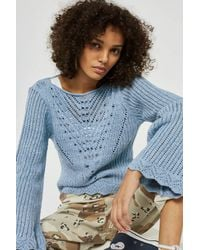 TOPSHOP - Blue Stitchy Tie Back Flute Sleeve Top - Lyst