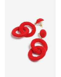 TOPSHOP - Red Seedbead Double Loop Drop Earrings - Lyst