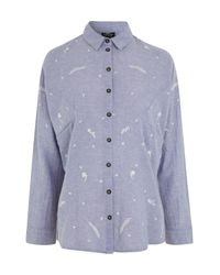 TOPSHOP   Blue Maternity Floral Embroidered Neppy Shirt   Lyst