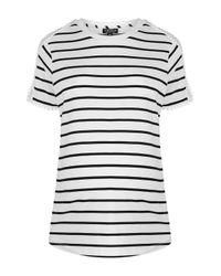 TOPSHOP - White Maternity Stripe Mesh Tee - Lyst