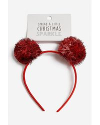 TOPSHOP - Red Tinsel Pom Pom Alice Band - Lyst