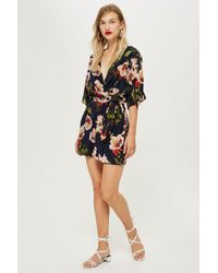 ba4cc8cfb577 Lyst - TOPSHOP Floral Playsuit By Yas in Black