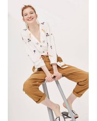TOPSHOP - Multicolor Belted Chino Trousers - Lyst
