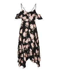 TOPSHOP Black Tall Asymmetric Floral Midi Slip Dress