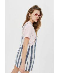 TOPSHOP - Blue Moto Striped Pinafore Dress - Lyst