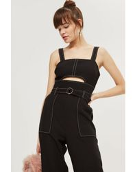 TOPSHOP - Black Topstitch Belted Jumpsuit - Lyst