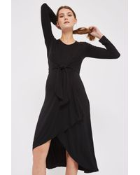 TOPSHOP - Black Maternity Knot Front Midi Dress - Lyst