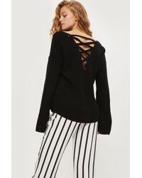 TOPSHOP | Black Lattice Back Knitted Jumper | Lyst