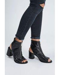 TOPSHOP - Black Nappa Zip Front Sandals - Lyst