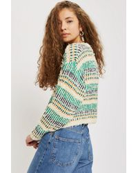 TOPSHOP - Multicolor Checked Crop Jumper - Lyst