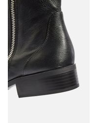 TOPSHOP - Black Kick Leather Boots - Lyst