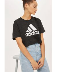 Adidas | Black Aero Knitted Crop T-shirt By Adidas Originals | Lyst